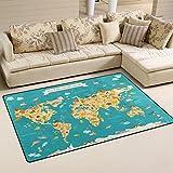 WOZO Animal Kids World Map Area Rug Rugs Non-Slip Floor Mat Doormats Living Room Bedroom 60 x 39 inches