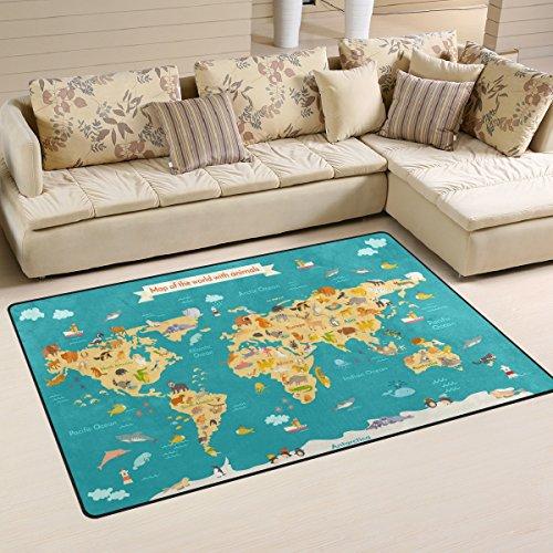 WOZO Animal Kids World Map Area Rug Rugs Non-Slip Floor Mat Doormats Living Room Bedroom 60 x 39 inches by WOZO