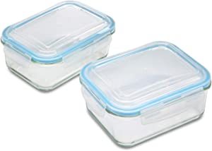 1790 Glass Food Storage Containers 4 Piece Set - 2 Leak Resistant 1520ml Glass Storage containers - Perfect Lunch Containers for Adults - Glass storage containers with lids