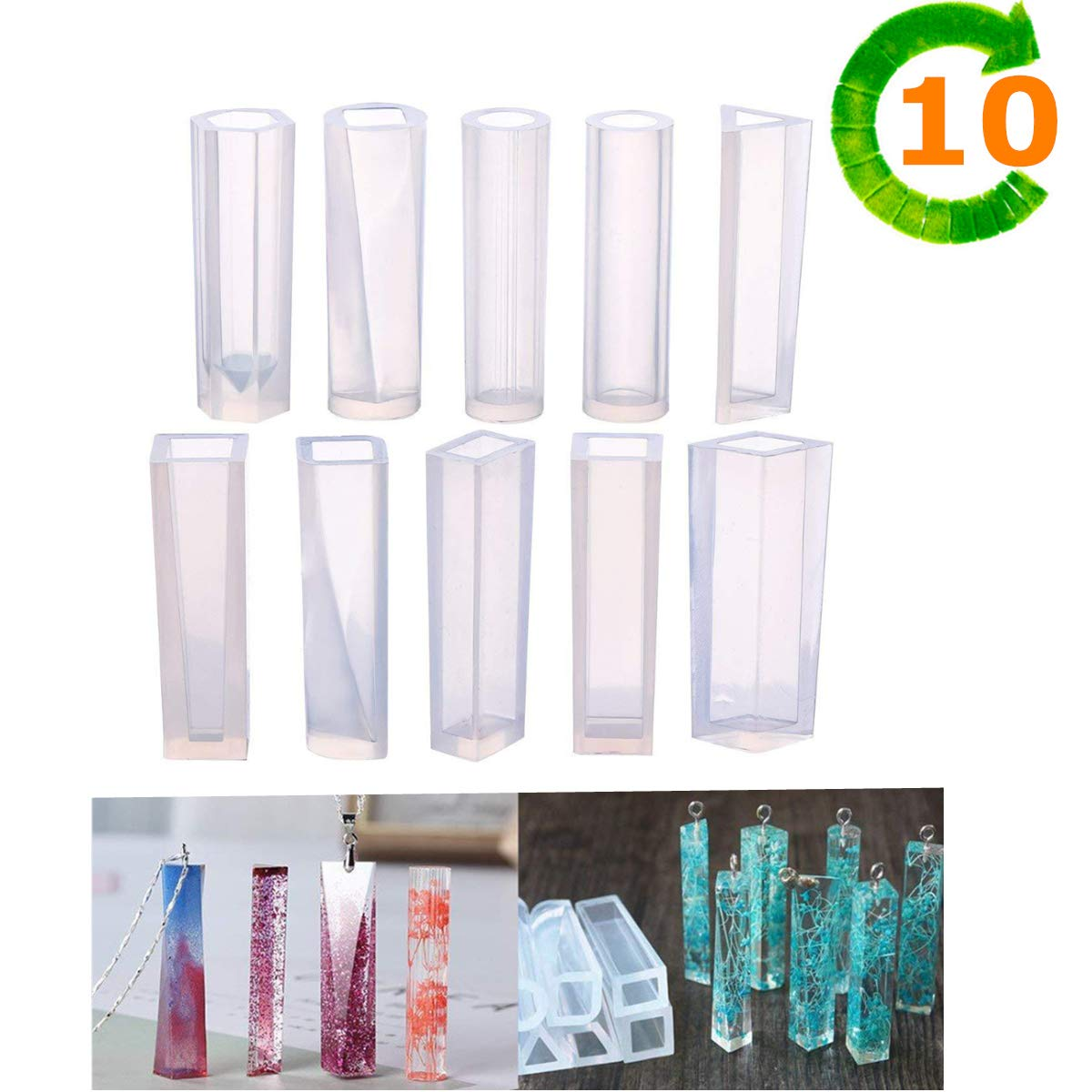 Silicone Resin Kits Casting Molud Included 10 PCS Pendant Moulds for Craft Making DIY