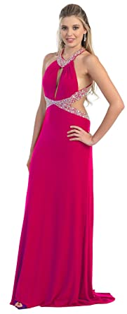 US Fairytailes Prom Dress Long Tail Back Cut Out Evening Gown #2877 - Purple -