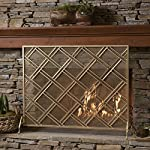 Jalama Single Panel Gold Iron Fireplace Screen from GDF Studio