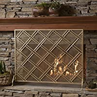 Jalama Single Panel Gold Iron Fireplace ...