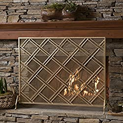 Jalama Single Panel Gold Iron Fireplace Screen