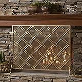 Jalama Single Panel Gold Iron Fireplace Screen