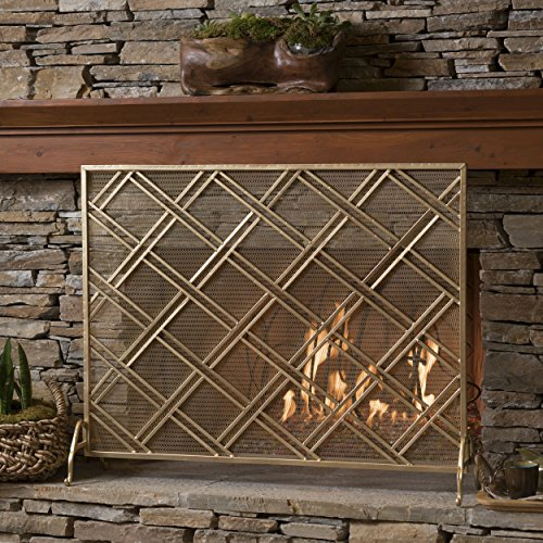 - GDF Studio 301556 Jalama Single Panel Gold Iron Fireplace Screen,