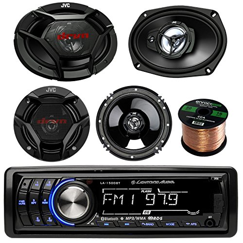 Lightning Audio LA1500BT Car Bluetooth MP3 Stereo Receiver Bundle Combo With 2x JVC DR-Series 6x9
