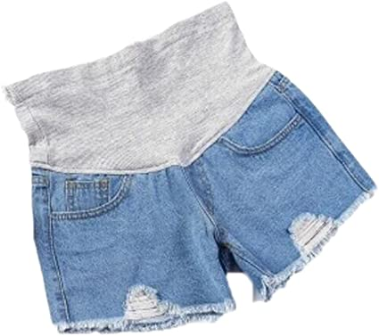 Huateng Pantalones Cortos de Maternidad del Verano del Dril de algod/ón de la Maternidad Ocasional del Cortocircuito del Cuidado Ajustable de la Correa