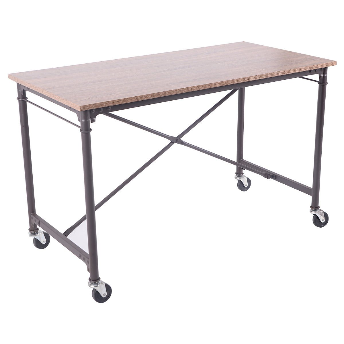 TANGKULA Computer Desk Laptop Writing Table Melamine Surface Wheels Home Office Furniture
