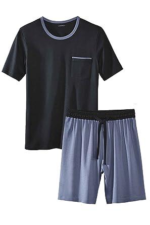 bb935ff4f9 Livergy® Herren Pyjama / Shorty / Schlafanzug - 2-Teiler Navy - Hellblau M