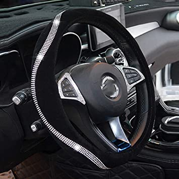 Black ZHOL Diamond Leather Steering Wheel Cover with Bling Bling Crystal Rhinestones Universal Fit 15 Inch Anti-Slip Wheel Protector
