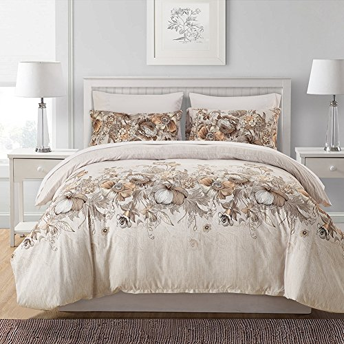 3pc Microfiber Duvet Cover Set with 2 Pillow Shams - Lightweight Colorful Floral Print Bedding Collection - US Queen Size