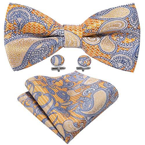- Pre-tied Orange Silk Bow Tie Set Mens Tuxedo Bowtie with Hanky Cufflinks Yohowa