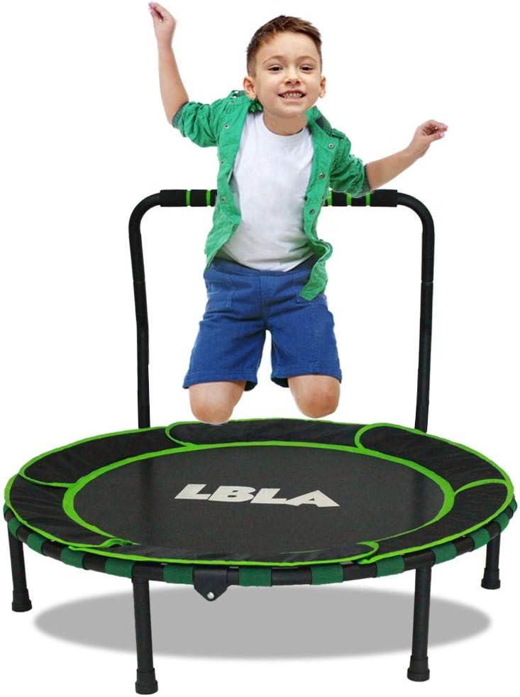 LBLA Trampolín para niños, mini trampolín de 92 cm, trampolín para interiores y exteriores con asa y cubierta protectora, Trampolín plegable seguro y duradero