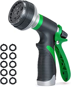 Accenter Water Hose Nozzle Water Spray Nozzle Heavy Duty Plastic Garden Hose Nozzle with 8 Patterns of Spray Perfect for Watering Plants Lawns,Washing Cars,Showering Dogs Green