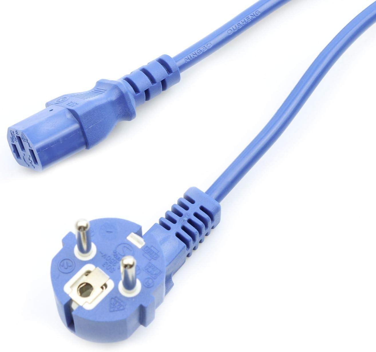 C13 VDE 5m azul CEE 7//7 monitor enchufe de corriente 90/° 230 V IEC Cable de alimentaci/ón para ordenador