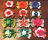 Lot 12 Christmas Dog Pixie Hair Bows Collection- Unique Design-2.5 inch size