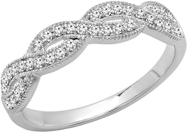 anillos de compromiso de diamantes blancos entrelazados e 0.3 quilates.