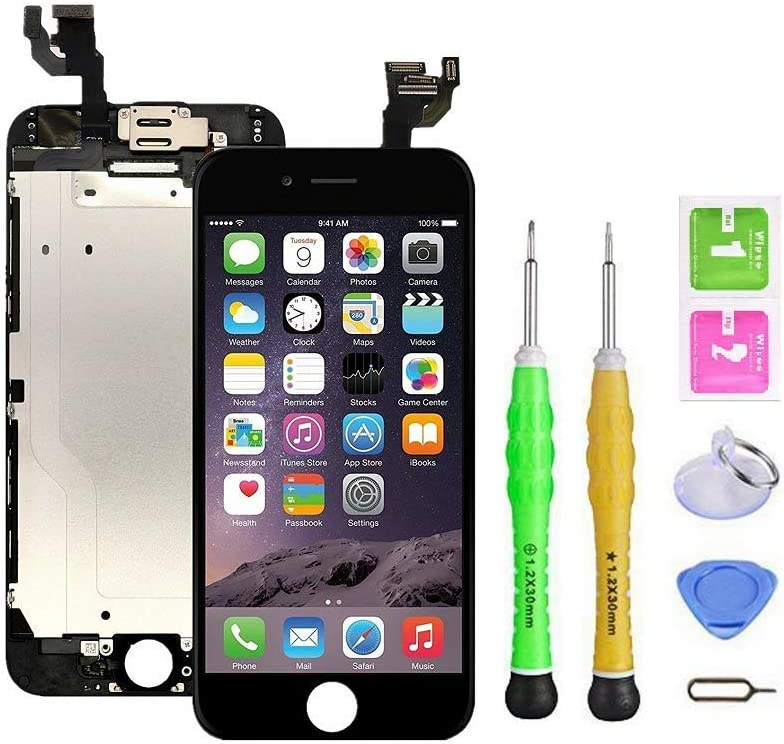 Screen Replacement Compatible with iPhone 6 Plus Full Assembly - LCD Touch Display Digitizer with Sensors and Front Camera, Fit Compatible with iPhone 6 Plus (Black)
