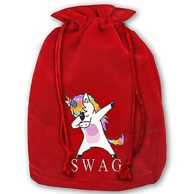 Swag Dabbing Unicorn Red Christmas Drawstring Bags / Santa's Trouser Bag/ Christmas Gift hot sale