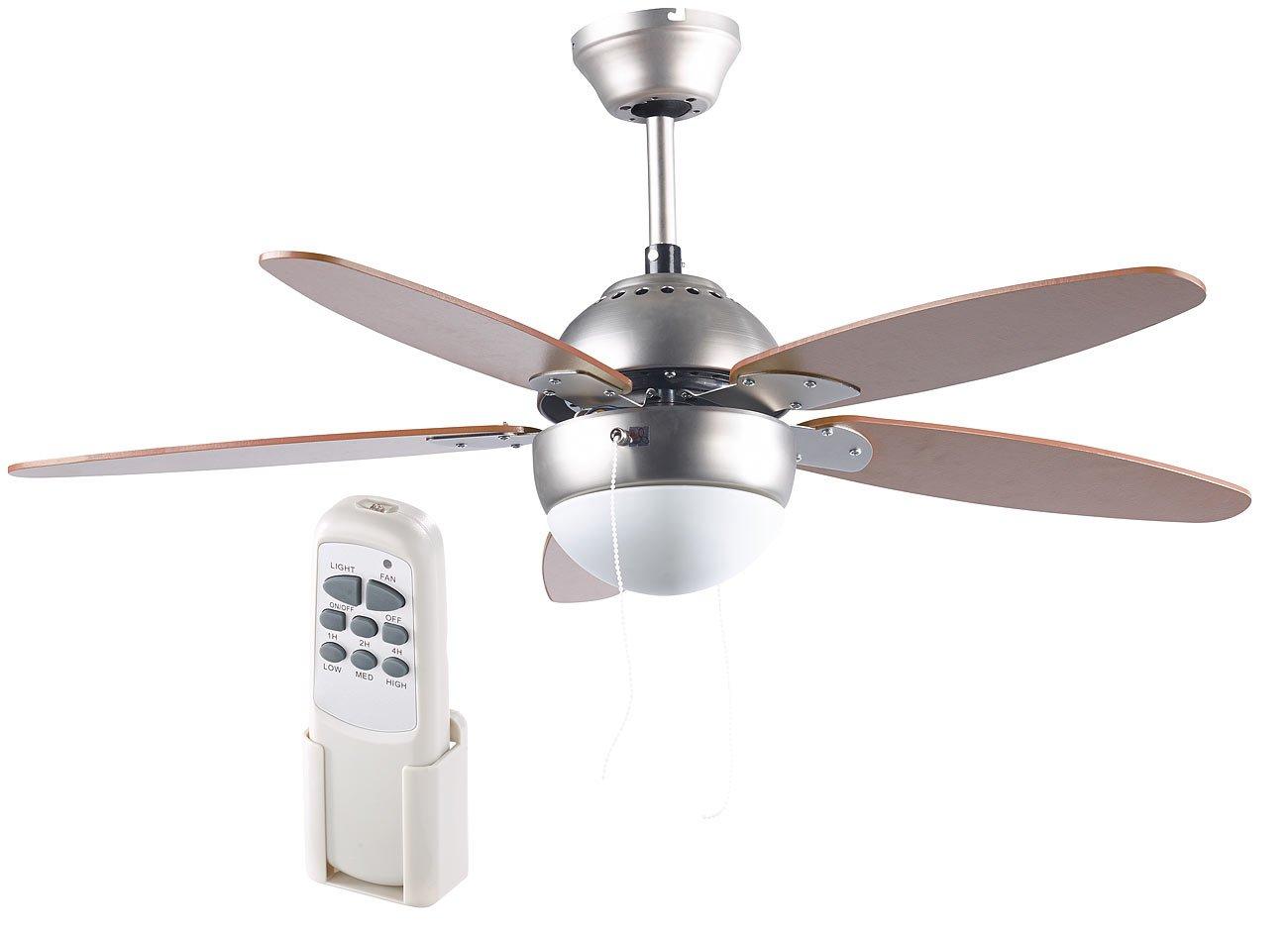 Sichler Haushaltsger/äte Ventilator: Deckenventilator VT-597 m Holzfl/ügeln /Ø 92 cm Beleuchtung Fernbed Deckenventilatoren mit Lampe