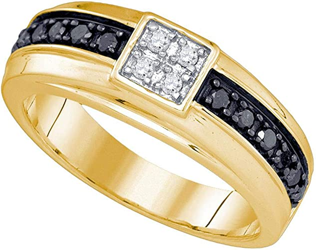 10kt Yellow Gold Mens Round Black Color Enhanced Diamond Wedding Band Ring 1//2 Cttw