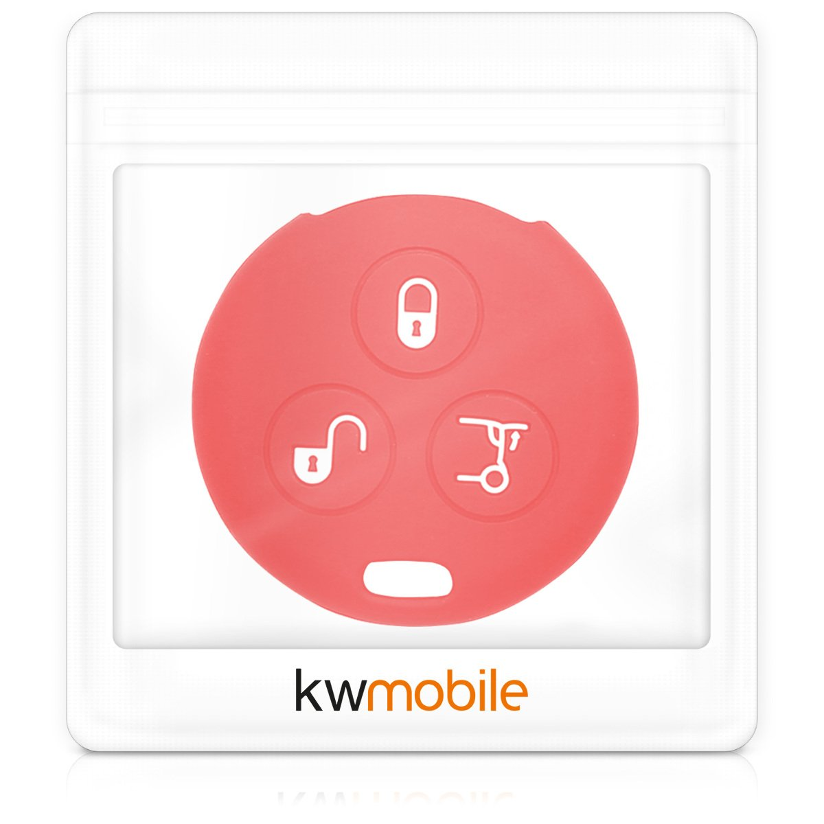 Silicone Protective Key Fob Cover for Smart 3 Button Remote Control Car Key Dark Pink kwmobile Car Key Cover for Smart