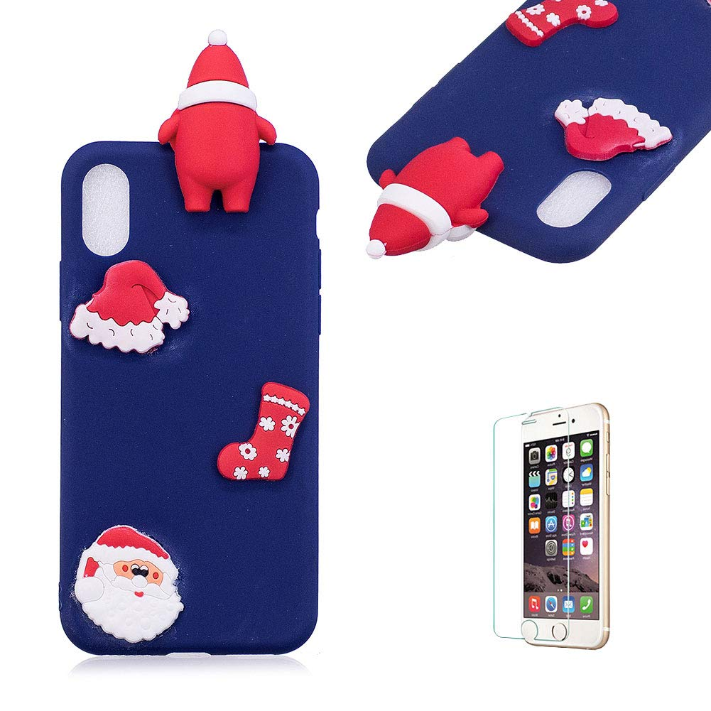 Cute Cartoon Case For iPhone X/iPhone XS [with Free Screen Protector], Funyee Stylish 3D Christmas Deer Design Ultra Thin Soft TPU Silicone Case for iPhone X/iPhone XS 5.8 inch, Blue Funyye