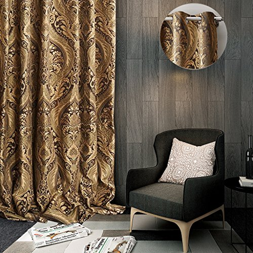 ChadMade Luxury Heavy Weight Rayon Chenille Floral Jacquard 84Wx84L Inch Blackout Lined Curtain Panel Drapery Eyelet Antique Bronze Grommet for Bedroom | Living Room | Club | Restaurant | Villa