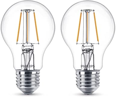 Philips Bombilla decorativa LED con filamento, E27, 4 W, equivalente a 40 W