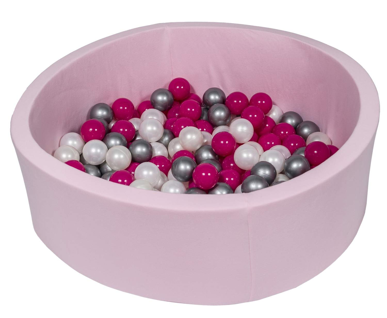 Velinda Piscine a balles pour Enfant Aire de Jeu Couleurs des balles: Blanc, Perle, Gris 150 balles Rose