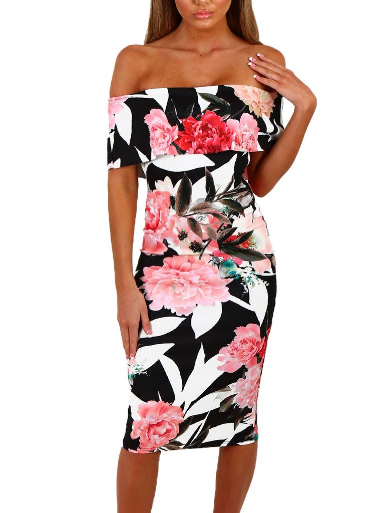 Happy Sailed Women Off Shoulder Floral Print Bodycon Midi Summer Dresses, X-Large Black