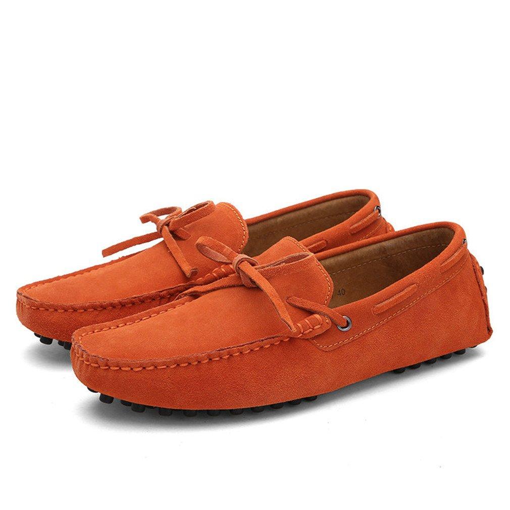 Bridfa Vaca Suede Leather Men Flats Hombres Zapatos casuales Hombres Mocasines Zapatos de conducción 15|Orange
