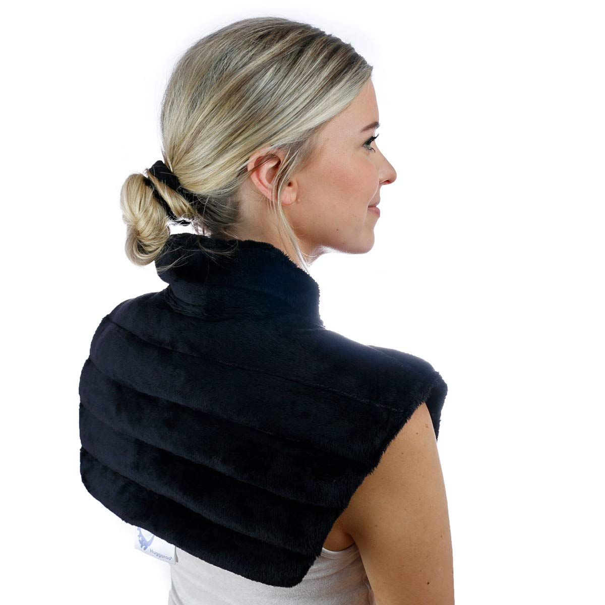 Huggaroo Weighted Microwavable Neck Wrap - UNSCENTED | Moist Heating Pad | Hot or Cold Compress for Neck Pain, Shoulder Pain, Migraines, Stress Relief (Black) by Huggaroo