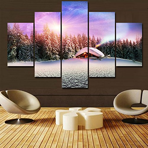 Wall Decor Painting Christmas Gift Canvas Hut in Snow Pictures Black and White Home Decor 5 Panel Modern Artwork for Living Room Framed Posters and Prints Gallery-wrapped Ready to Hang(60''Wx40''H) by Warm Artwork