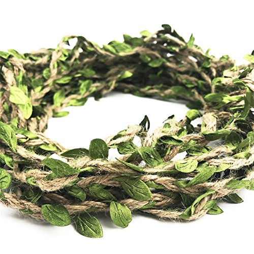 Zhiheng 66ft Rustic Artificial Leaf Vine Jute Twine Vintage Jungle Garland Foliage Rattan Green Leaves Ribbon for Wrapping Wedding Home Garden Decoration Craft Supplies from Zhiheng