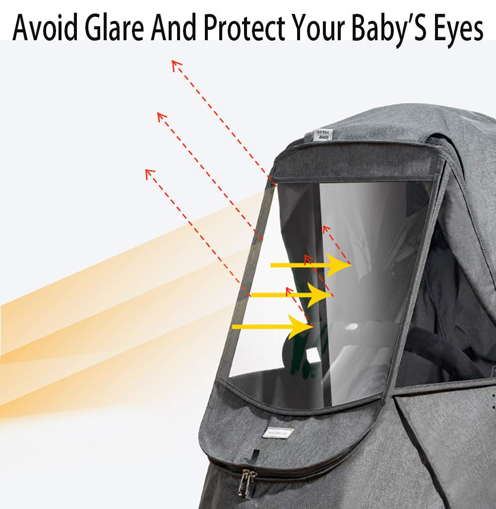 Baby Stroller Sun Shade Canopy,Universal Baby Sunshade,Zippered Infant Insect Netting Cover Awning Waterproof and Windproof by ACOMG (Image #6)