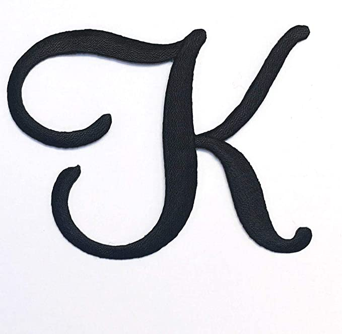 Retro Script Iron On Embroidered Monogram Single Letter Patch