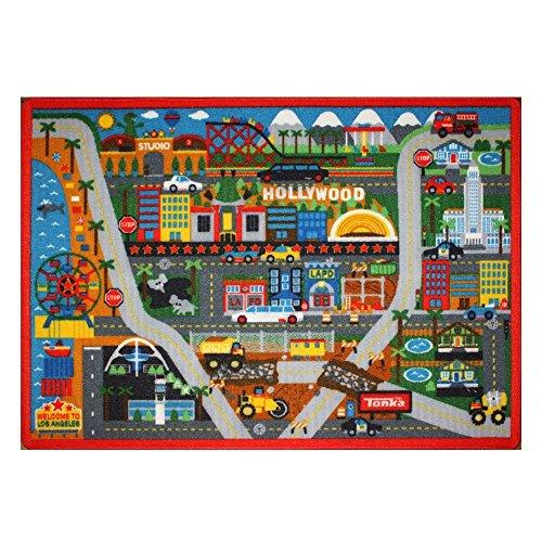Tonka Toys Trucks Play Rug Hollywood Scenary Kids Bedding Game Rugs w/ 1 Dump Truck + 2 Boulders, 32