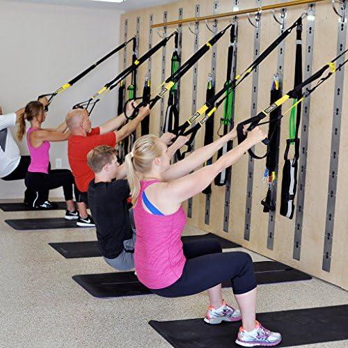 Enkeeo - Juego completo para entrenamiento de techo, capacidad hasta 350 kg, suspensión, fitness, ideal para gimnasio/casa/exterior, en color amarillo ...