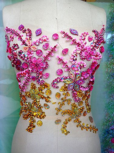 Hot Sale!Handmade Pink/golden Crystal Patches Sew on Rhinestones Applique with Stones Sequins Beads 31X27cm for (Stone Sequins)