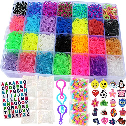 11,750+ Authentic Rainbow Mega Refill Loom by Talented Kidz: Includes 10,750 Premium Quality Rubber Bands, 3 Backpack Hooks, 30 Charms, ABC Stickers, 250 Beads, 600 Clips, DIY Personalized Organizer Bracelet Making Kit