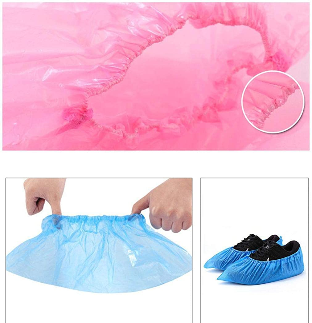 Werall 100Pcs Disposable Plastic Shoe Covers Waterproof Boot Covers Shoe Covers