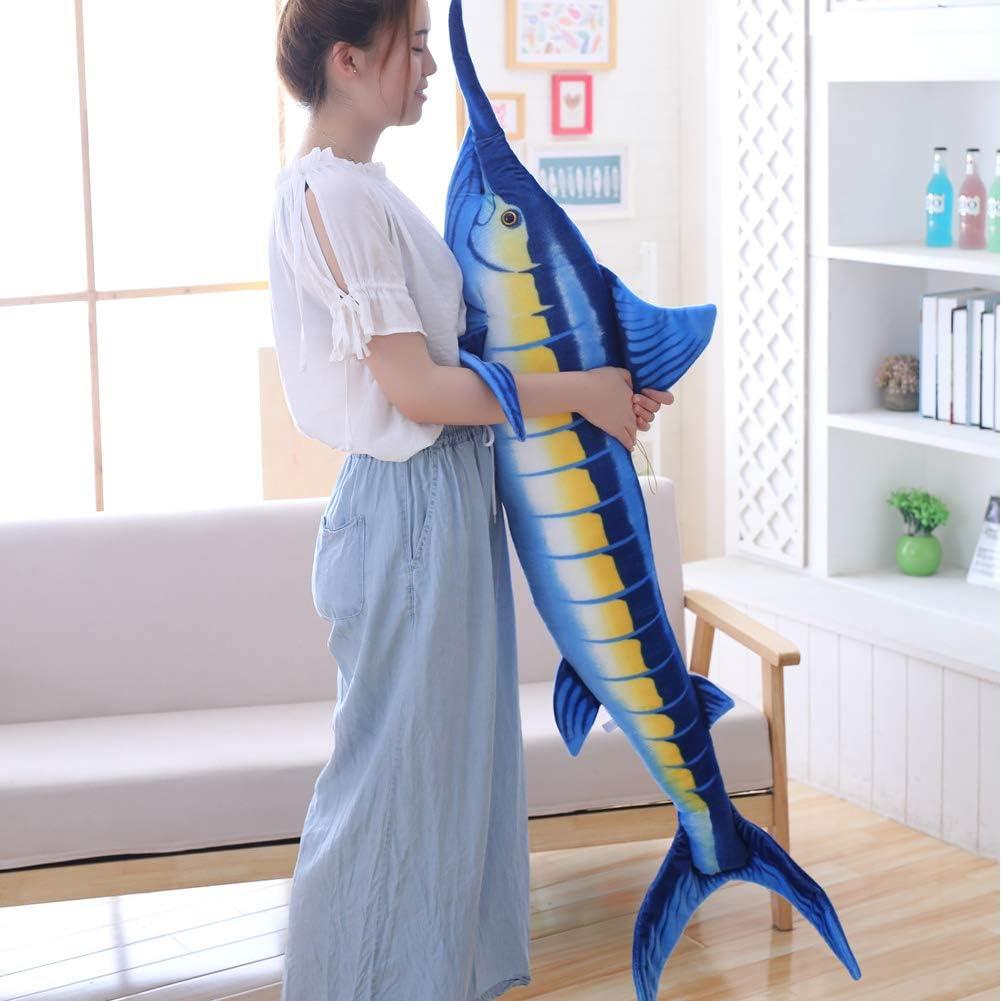 Giant Swordfish Stuffed Animal Toy,Realistic Blue Marlin Fish Plush Pillow (55 inch)