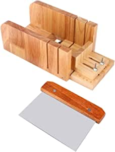 VolksRose Adjustable Wooden Soap Cutter Mold Box with Stainless Steel Blade, Beveler Planer Wire Slicer for Handmade Candles Trimming DIY Cutting Making Slicer Tool #01