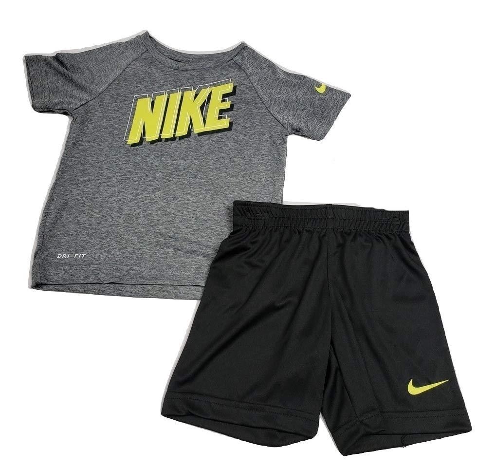 Nike Boy`s Dri-Fit T-Shirt & Shorts 2 Piece Set (3T) Grey/Black