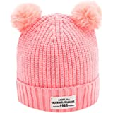 Fashion Baby Ball Letter Winter Warm Hats Knitted Wool Hemming Cap (Pink)