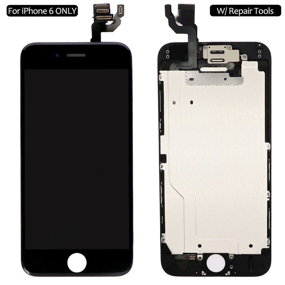 Screen Replacement For i 6 Black, Fully Pre-Assembled LCD Display and Touch Screen Digitizer Replacement for A1549/A1586/A1589, Including Repair Tools