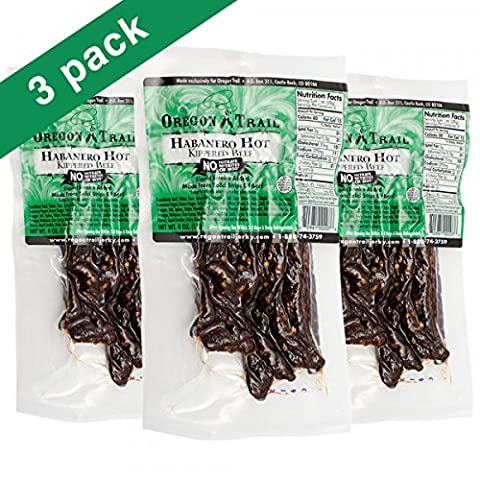 Best Beef Jerky by Oregon Trail Habanero Hot Flavor Gluten Free 100% All Natural Beef - No Artificial Ingredients No Preservatives No Nitrate Nitrates or - Habanero Beef