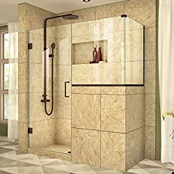 DreamLine Unidoor Plus 48 in. W x 36 3/8 in. D x 72 in. H Frameless Hinged Shower Enclosure, Clear Glass, Oil Rubbed Bronze, SHEN-2430183436-06